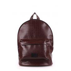 Рюкзак жіночий POOLPARTY backpack-croco-коричневий brown