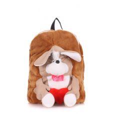 Детский рюкзак POOLPARTY с собакой kiddy-backpack-dog-brown коричневый