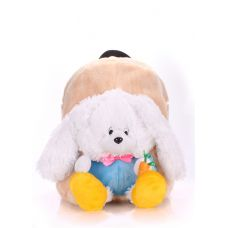Детский рюкзак POOLPARTY с зайцем kiddy-backpack-rabbit-white бежевый