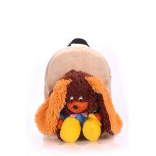 Детский рюкзак POOLPARTY с зайцем kiddy-backpack-rabbit-brown бежевый