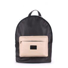 Рюкзак жіночий POOLPARTY backpack-pu-black-beige чорний