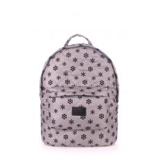 Рюкзак стьобаний POOLPARTY backpack-snowflakes-grey сірий