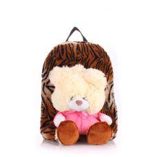 Детский рюкзак POOLPARTY с медведем kiddy-backpack-tiger коричневый