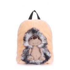 Детский рюкзак POOLPARTY с ежиком kiddy-backpack-hedge-grey бежевый