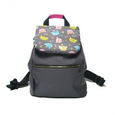 Дитячий сірий рюкзак з котами TWINSSTORE Р29