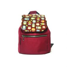 Дитячий бордовий рюкзак з совами TWINSSTORE Р25