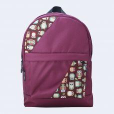 Бордовий рюкзак з совами mini TWINSSTORE Р14