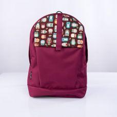 Бордовий рюкзак з совами TWINSSTORE Р9