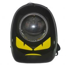 Рюкзак-переноска з ілюмінатором U-Pet переноска для котів і невеликих собак Angry чорний