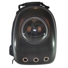 Рюкзак-переноска з ілюмінатором U-Pet для котів і невеликих собак чорний смужки
