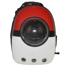 Рюкзак-переноска з ілюмінатором U-Pet для котів і невеликих собак Oversize червоно-білий